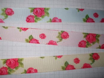 16mm Rose Print Vintage Grosgrain Ribbon choice of colour